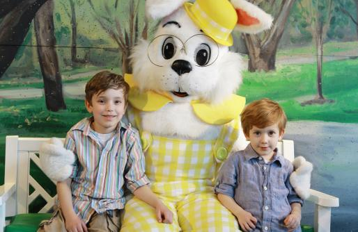 Easter Bunny sitting with 2 little boys