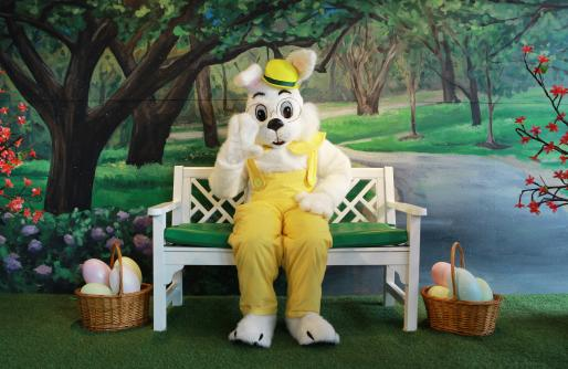 Easter Bunny sitting on a bench in a yellow outfit