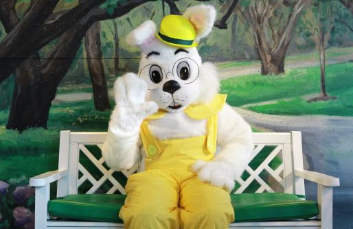 close up of Easter Bunny with yellow outfit