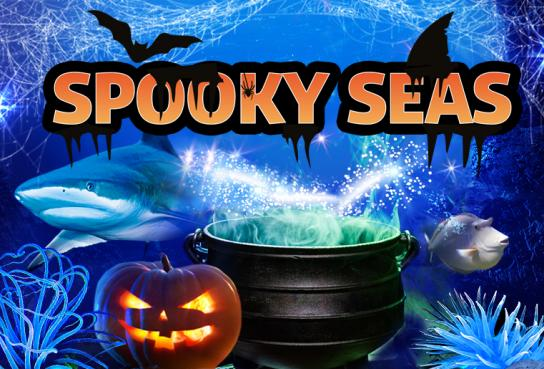 Pumpkin and bats in Sea Life scene