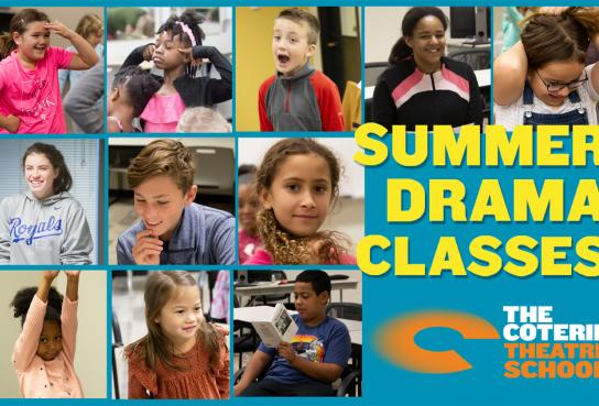 Student Faces and Summer Drama Classes Logo