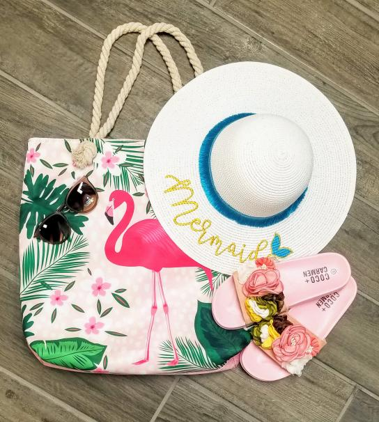 Tote, Sunglasses, Hat and Sandals from Plethora