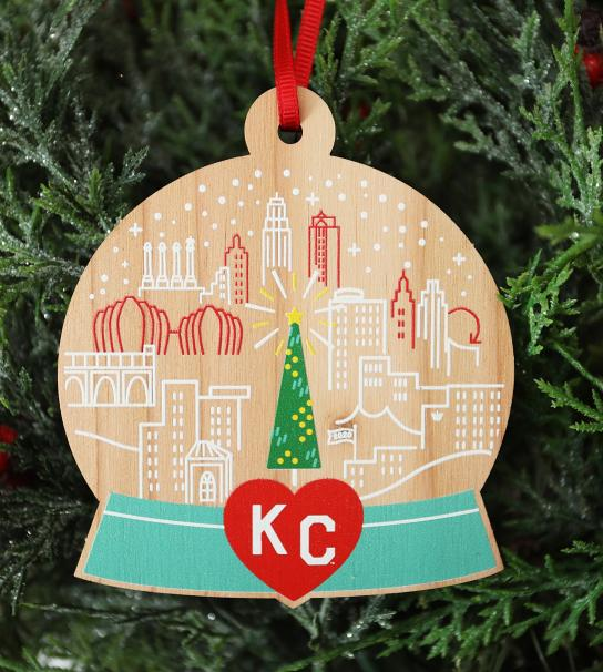 Image of 2020 Mayor's Tree Ornament - Snow Globe with Downtown KC
