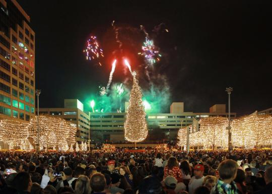 the Mayor's Christmas Tree 2017 Light Ceremony with fireworks